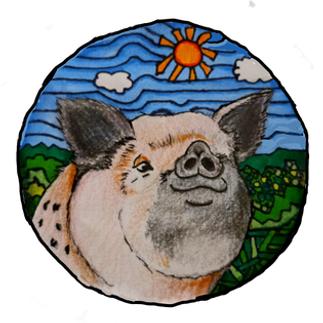 painting of a cartoon pig piggy hill art studio's logo