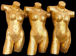 BellaVetro mosaic tile glass art gold mannequin fashion show events