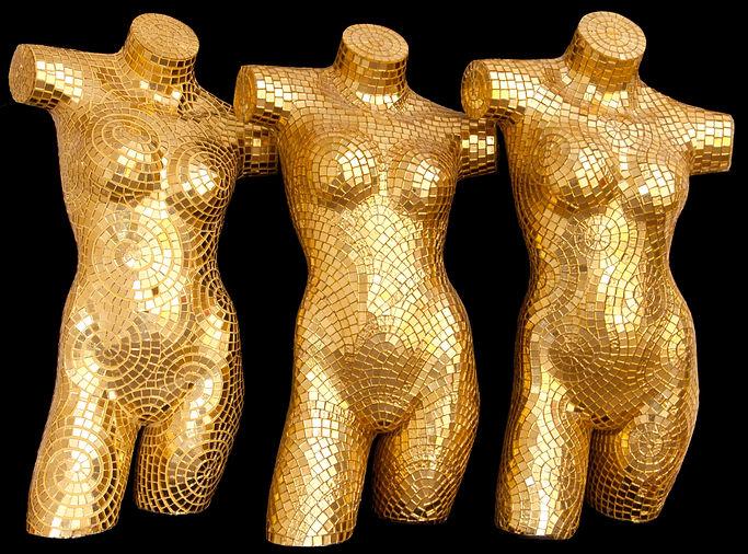 BellaVetro mosaic tile art mannequins gold events fashion show