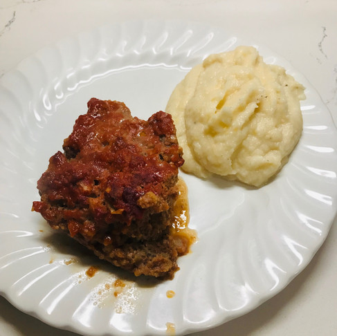 Sweet and Sour Meatloaf & Cheesy Cauliflower Mash