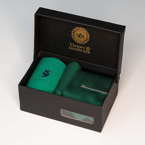 Forest Green Knitted Tie Box Set