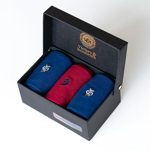 Luxury Socks Gift Set | Navy Blue / Red / Navy Blue