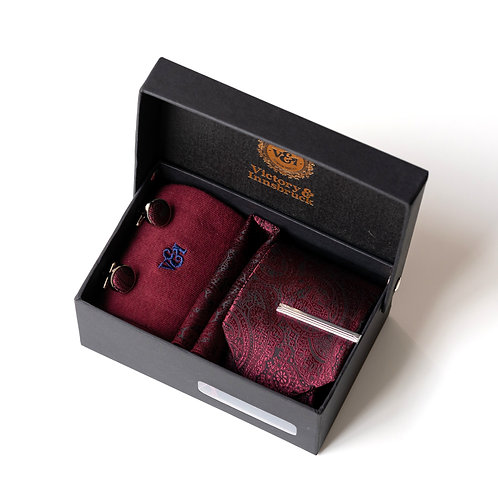 Burgundy Red Paisley Tie Box Set