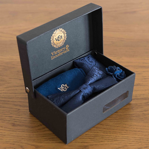 Blue Paisley Bow Tie Box Set
