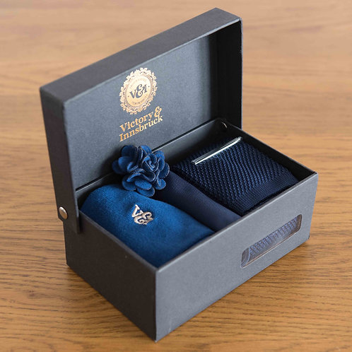 Navy Blue Knitted Tie Box Set
