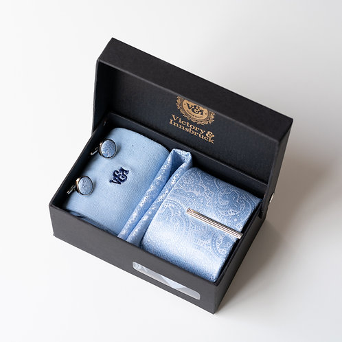 Light Blue Paisley Tie Box Set