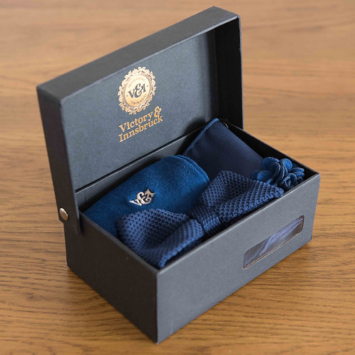 Blue Knitted Bow Tie Box Set