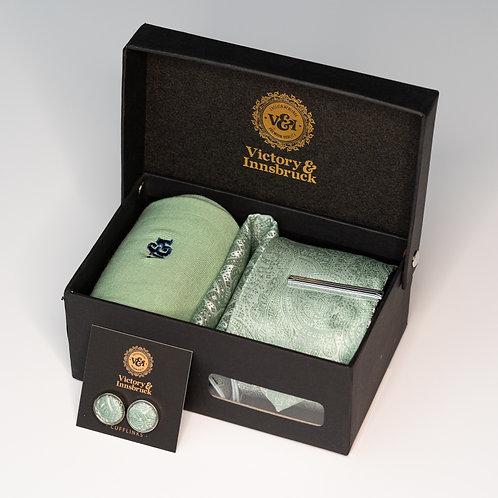 Sage Green Paisley Tie Box Set