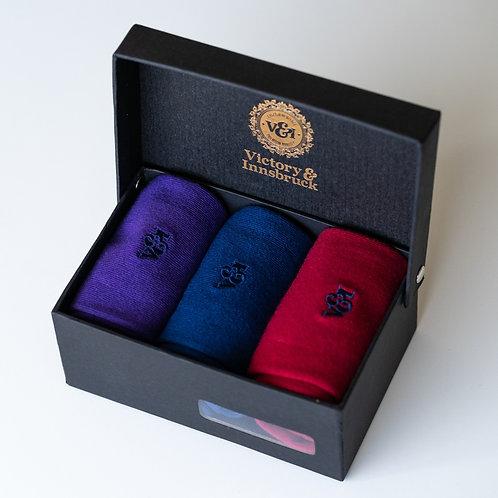 Luxury Socks Gift Set | Navy Blue / Cadbury Purple / Red