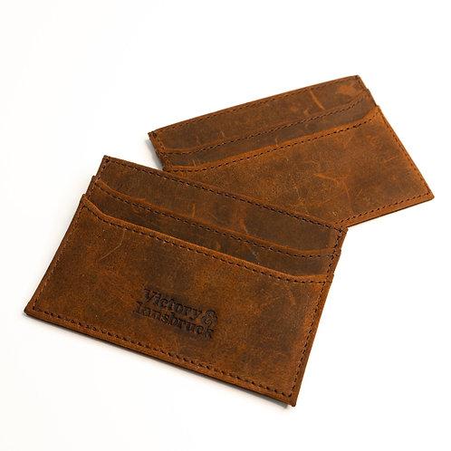 Slim Leather Card Holder Wallet | Brown / Brushed Tan