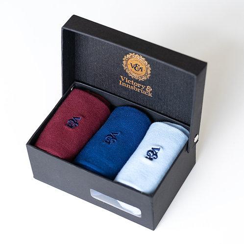 Luxury Socks Gift Set | Burgundy / Navy / Light Blue