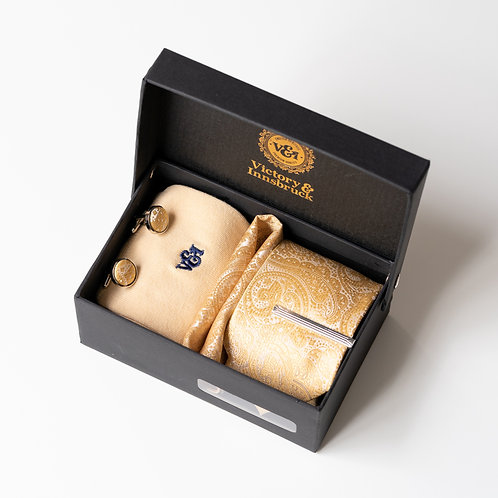 Champagne Gold Paisley Tie Box Set