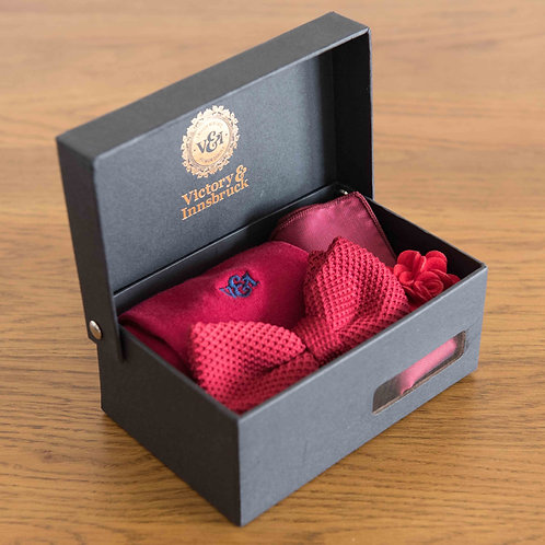 Red Knitted Bow Tie Box Set