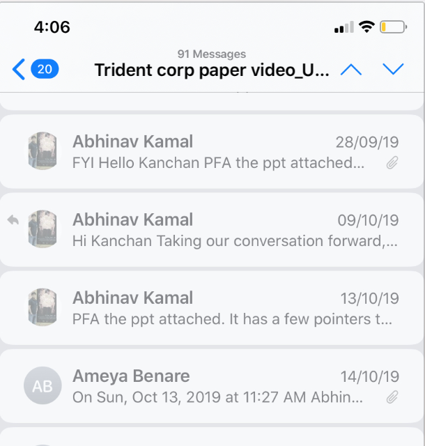Snapshot of mail shared with Client at Ten Motion Arts | Film Production House in Bangalore
