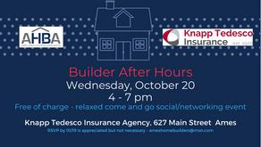 Join Builder After Hours at Knapp Tedesco on October 20