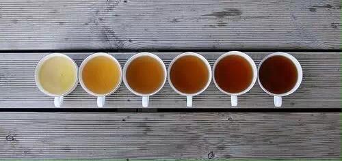 Chinesische Teesorten in weißen Tassen