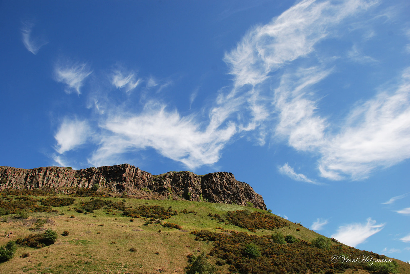 The Salisbury Crags in Edinburgh are 350 million years old. This is an estimated age, but what's a few million years here or there?