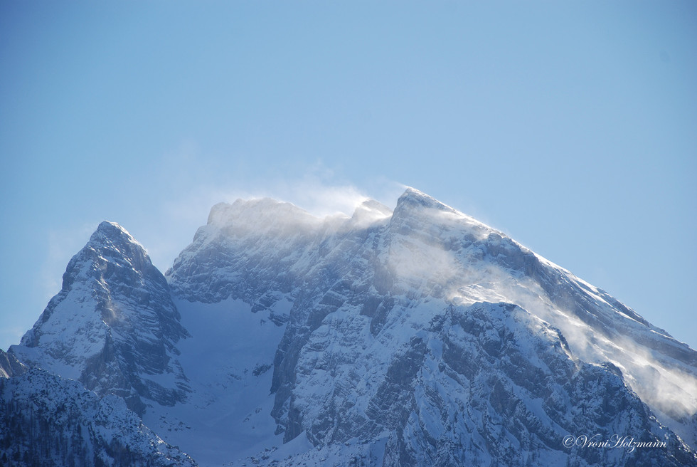 Snow blown over summit