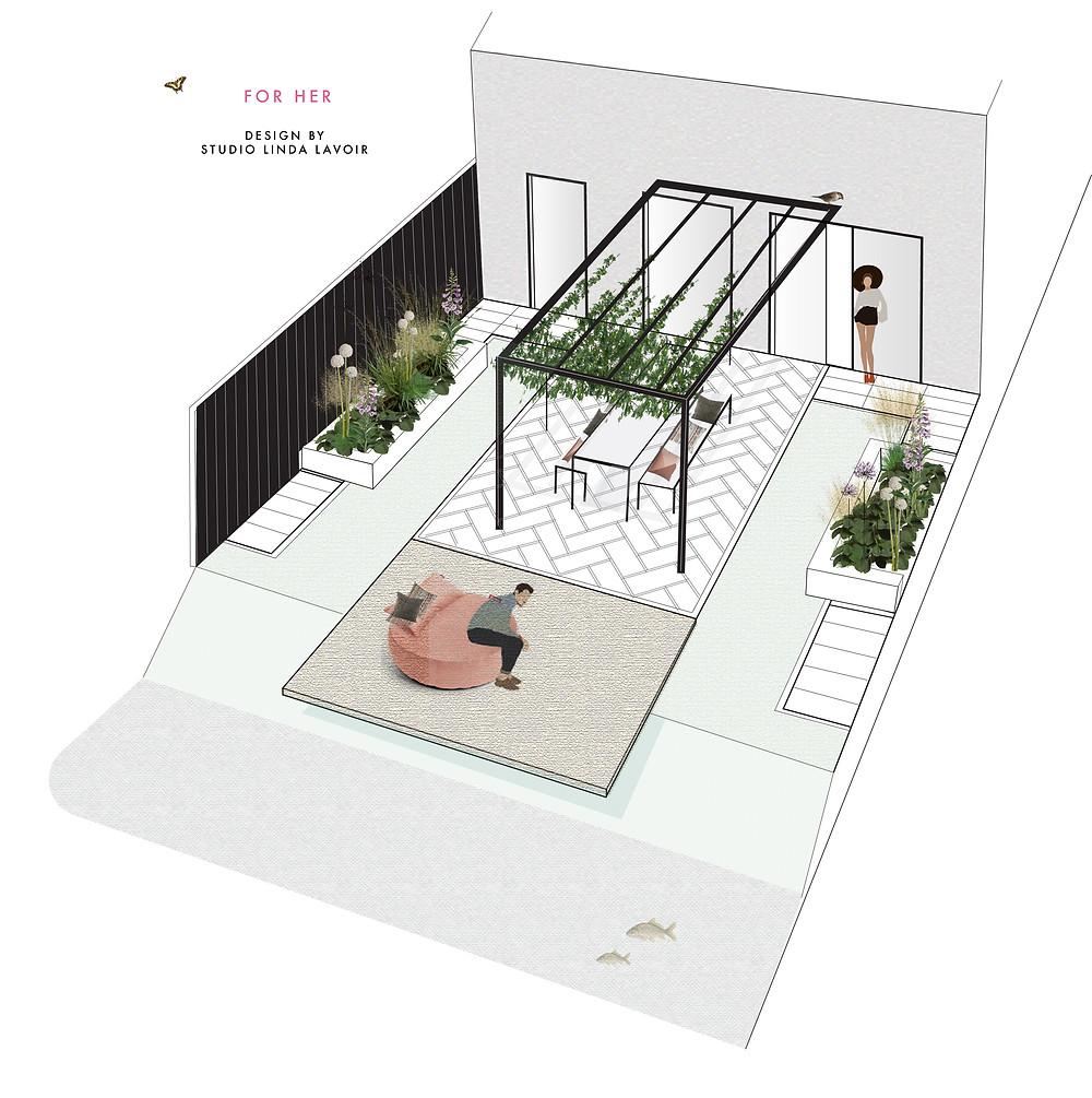Als ontwerper voor de buitenruimte vind ik zowel het luisteren naar de eisen van de klant, als het begeleiden van de klant naar een ontwerp die esthetisch past in de tijd waar we ons op dit moment bevinden, belangrijk. 'Onderhoudsvrij', ecologisch,  goedkoop ( ja, die hoort ook in het rijtje ) en hergebruik zijn verschillende lagen die ik allemaal op een creatieve manier inzet in een tuinontwerp. Zo is niet alleen de klant blij, maar ook de natuur.. en is dit niet waar we allemaal naartoe moeten in deze tijd?  a thousand layers Een ontwerp dat wordt omschreven als 'leuk' bestaat in mijn ogen niet. In ieder geval niet in mijn tuinontwerpen. Elk project heeft een stuk of 10 lagen ( 1ooo is wel een beetje overdreven ) Deze lagen worden allemaal op een volgend onder elkaar gelegd. De eerste laag is altijd het verhaal van de klant. Wat willen ze? Wat vinden ze mooi? Wat zijn hun herinneringen aan een tuin? De eerste laag is altijd de basis voor de volgende lagen. De tweede en de derde laag zijn de analyses van de buitenruimte en de ruimte van het huis naar buiten toe. Zon, wind, schaduw, zichten etc et. Vervolgend komen de lagen ruimtelijkheid en de keuze van materialen. Dit zijn de lagen waar ik zelf helemaal wild enthousiast van word. Dit is jouw kans als tuinontwerpen om de mensen mee te nemen in een wereld die zij niet kennen.. en dit is geen Pinterest Instagram of Facebook wereld. Je laat ze jou creatieve manier van ruimtelijk ontwerpen, beplantingsplannen en materialen keuze zien. Deze zijn niet alleen interessant voor de klant, maar zoals ik zovaak zeg, ook interessant voor op grotere schaal.  Het ontwerp zoals op deze afbeelding is 100 % de stijl van de opdrachtgever. De materialen zijn allemaal tweedehands  ( circulair ) en de beplantingsplannen zijn bruikbaar als pluktuin en als groene/kruidentuin en een plek waar insecten hun leefgebied vinden. Er zijn klimplanten en bomen ( drie leilindes die niet op de tekening staan ) waar vogels kunnen schuilen en nestjes 