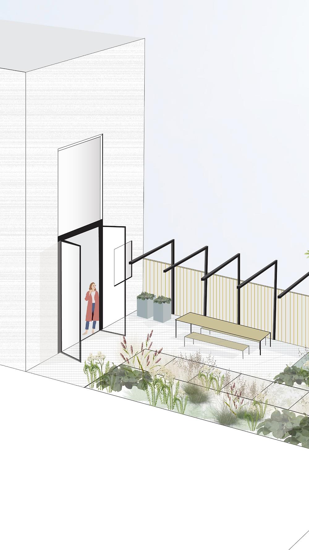 'Zou je een natuurlijke tuin kunnen ontwerpen die past bij het interieur van het huis.' WONEN IN PARK 16HOVEN, ROTTERDAM  Voor vele van ons komt er een tijd dat we de hectische stad willen verlaten om ons te settelen in een iets rustiger gedeelte van ons land. We zoeken naar een plek waar de kwaliteit van de leefomgeving een stuk groter is. We ruilen ons appartement in voor een huis en het balkon voor een tuin.  Zo heeft dit jonge koppel ervoor gekozen om een huis te laten bouwen in Park 16Hoven in Rotterdam. Al ligt het hemelsbreed maar vijf kilometer van het centrum van Rotterdam, je baant je hier in een andere wereld. Het is een mooie, jonge wijk waar veel aandacht wordt besteed aan groen.  De keuze om te gaan wonen in Park 16Hoven is niet verwonderlijk. De opdrachtgevers zijn beide opgegroeid op het platteland. Wonen in een groene omgeving grenzend aan de stad is voor hun dus perfecte combinatie.    DE NIEUWE TUINTREND  'Stoer en robuust, maar toch met een zekere verfijning. Een natuurlijke beplanting van siergrassen met hier een daar een bloem en een fijne plek om aan het water te zitten'. De eisen van de opdrachtgevers waren duidelijk. 'Zou je een natuurlijke tuin kunnen ontwerpen die past bij het interieur van het huis.'  De eisen liggen helemaal in mijn straatje. Het ontwerp bestaat uit strakke lijnen die worden verzacht door de natuurlijk - ogende borders bestaande uit siergrassen en meerstammige bomen. Stelconplaten* liggen in een rechte lijn van de straatkant tot de voordeur en van de achterdeur tot aan het einde van de tuin. Het pad eindigt in een zwevend terras. In de achtertuin wordt het pad begeleid door natuurlijke borders aan weerszijde. Dit zorgt voor een prachtige zichtlijn vanuit huis. Daarnaast wordt er nog een diepte gecreëerd in de zichtlijn door de meerstammige bomen die lijken te horen bij de bomen die aan de overkant staan. De tuin lijkt op deze manier veel groter dan ze daadwerkelijk is. + + +   Modern, groen, onderhoudsvriendelijk, kindvr