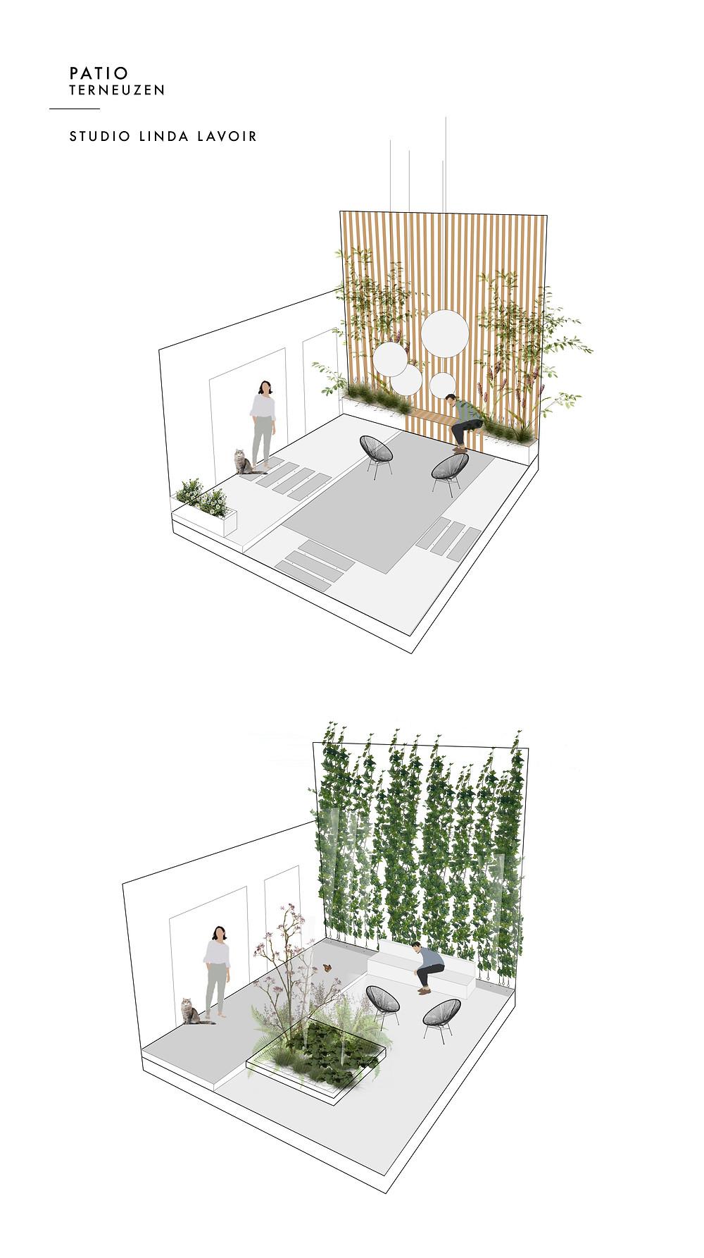 In deze blog wil ik jullie graag laten zien hoe ik keuzes maak voor een, in dit geval, ontwerp voor een patio. Want een leuke buitenruimte ontwerpen is één ding, maar een ontwerp maken die én ruimtelijk goed in elkaar zit, die zorgt voor een gezonde leefomgeving en 365 dagen interessant is voor de klant,  is een tweede. Lees hier hoe ik het ontwerp van deze patio in Terneuzen heb ontworpen.   Welk ontwerp kies jij? Deze vraag stelde ik ook via mijn story op mijn Instagram account Studiolindalavoir. De meerderheid koos voor het eerste ontwerp, jij misschien ook wel op het eerste gezicht. Het ontwerp is modern en strak, maar toch ook groen.  Het eerste ontwerp is gebaseerd op de eisen van de opdrachtgevers. De eisen waren onderhoudsvriendelijk, modern maar toch groen, een leuke plek om te zitten met vrienden en familie en natuurlijk moet de patio ook kindvriendelijk zijn.  Het tweede schetsontwerp heb ik gemaakt om te laten zien wat de mogelijkheden zijn wanneer ik praat over aspecten waarover ik het heb in mijn introductie.  De natuurlijke patio Het hebben van een tuin op deze wereld uniek. Maar een klein deel van de wereldbevolking heeft er namelijk eentje. Wij bezitten dus de luxe om ons eigen kleine stukje natuur te creëren naar onze eigen smaak. Het is een plek waar we kunnen ontspannen, BBQen en van kunnen genieten op zomerdagen.. Het enige nadeel is dat het niet altijd mooi weer is in Nederland. Met die reden is het het een enorme meerwaarde wanneer de patio ook aantrekkelijk is wanneer we er niét in zitten.   Met die reden is daarom ook het tweede ontwerp voor de patio gekozen. Dit ontwerp is niet alleen fijn om in te zitten op mooie zomerdagen, het is ook mooi om naar te kijken wanneer de opdrachtgevers aan het koken zijn, aan tafel zitten met vrienden of op de bank televisie zitten te kijken. Het uitzicht is zowel in de zomer als in de winter groen en kleurrijk. Je ziet veel verschillende structuren en de groene inrichting trek veel leven aan.    Ook 's avon