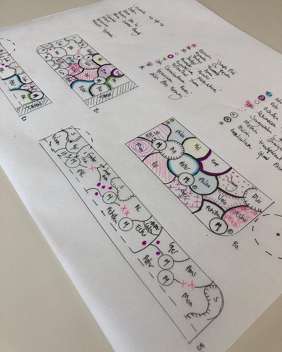 Tuinarchitect Rotterdam tekent een illustratie voor een tuiontwerp. Studio Linda Lavoir ontwerp vooral ecologisch, verantwoorde tuin. De tuin van de toekomst. Tuinarchitect Zeeland. Natuurlijke beplantingsplannen. Tuinarchitect met plantenkennis. Tuinontwerp met siergrassen en vaste planten