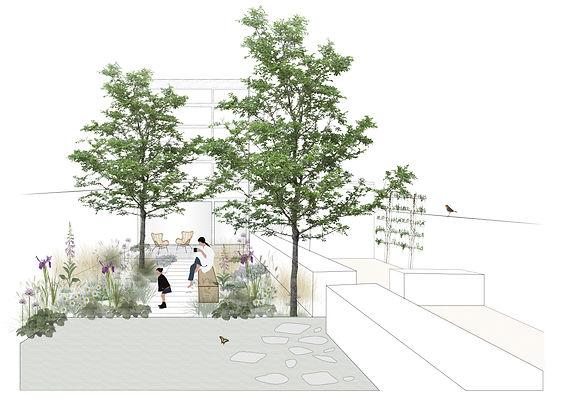 Tuinarchitect Rotterdam tekent een illustratie voor een tuiontwerp. Studio Linda Lavoir ontwerp vooral ecologisch, verantwoorde tuin. De tuin van de toekomst. Tuinarchitect Zeeland