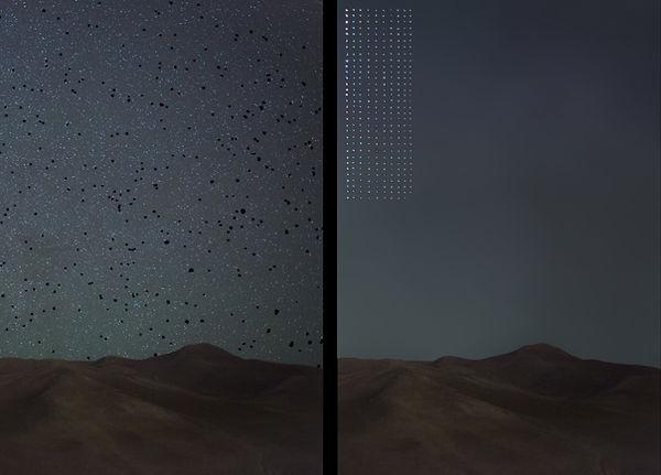 319 estrellas ordenadas. Fotomontaje digital de Marge Gómez