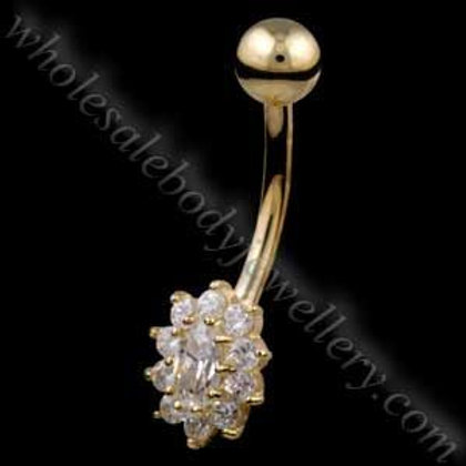 9ct Small Cluster Belly Bar (9N12)