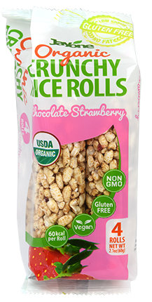 Organic Crunchy Rice Rolls - Chocolate Strawberry