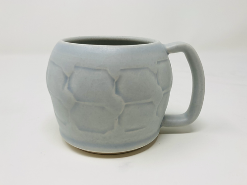 8 oz pale blue crackle curvy cappuccino mug set