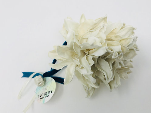 satin porcelain flower with velvet ribbon
