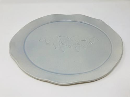 stoneware pale blue platter