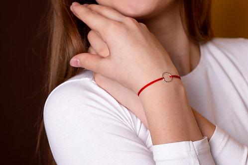 Karma - náramek na šňůrce - stříbro, červená