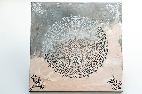 Akryl na plátně obraz 40x40 hnědý