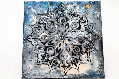 Akryl na plátně obraz 40x40 modrý