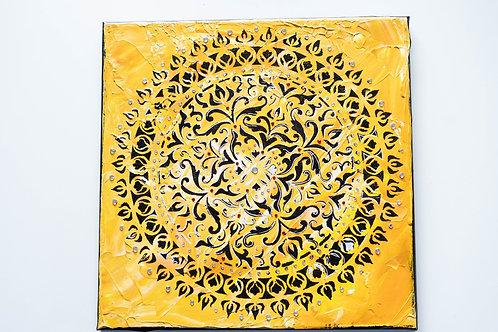 Akryl na plátně obraz 30x30 hořčicový