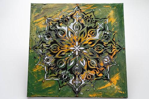 Akryl na plátně obraz 40x40 zelený