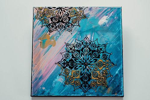 Akryl na plátně - obraz 30x30 modrá