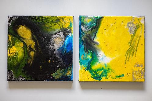 Akryl na plátně 2 kusy 20x20cm noc a den