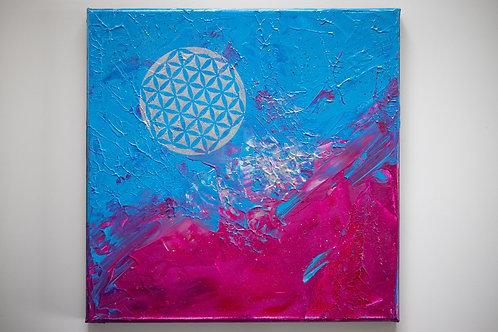 Akryl na plátně 30x30 cm květ života