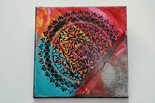 Akryl na plátně obraz 30x30 růžová