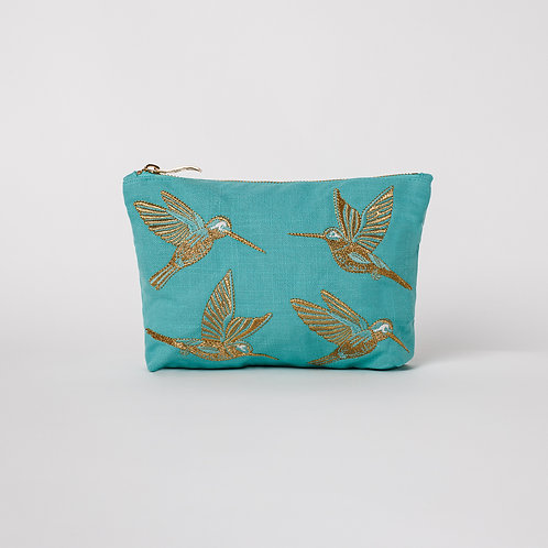 Turquoise Hummingbird Makeup Bag