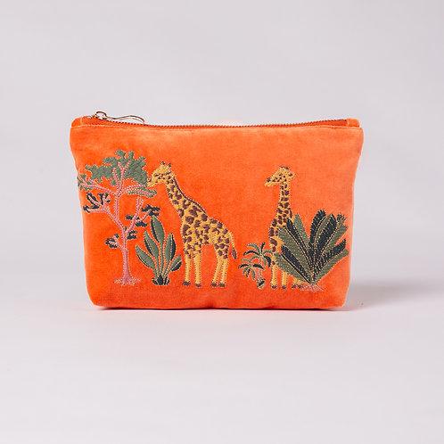Giraffe Velvet Makeup Bag
