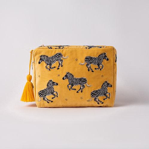 Zebra Mustard Velvet Wash Bag