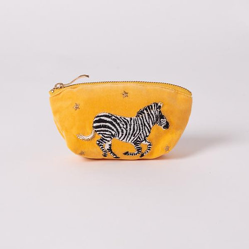 Zebra Mustard Velvet Coin Purse