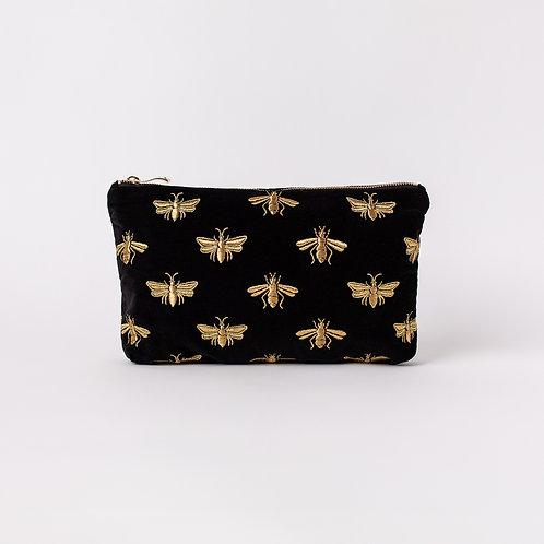 Bee Black Velvet Everyday Pouch