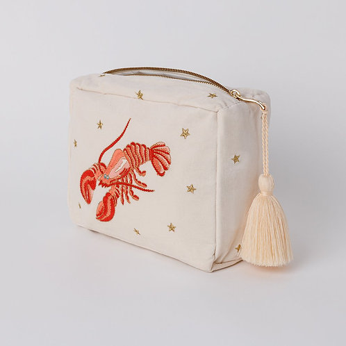 Lobster Pearl Velvet Wash Bag