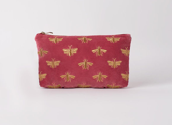 Bee Dusky Pink Velvet Everyday Pouch