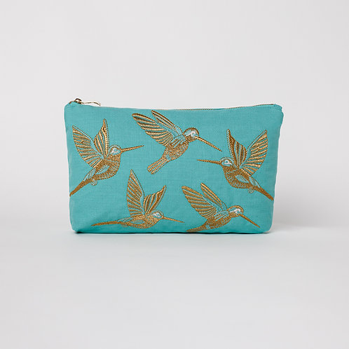 Turquoise Hummingbird Everyday Pouch